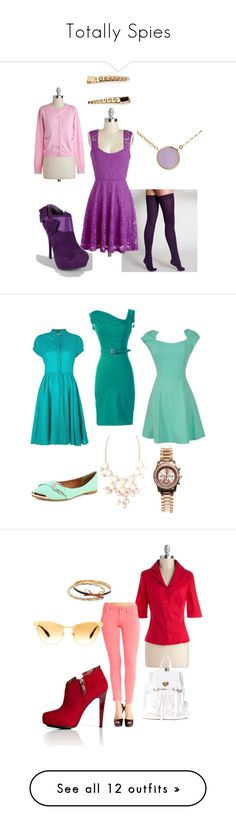 """""""Totally Spies"""" by marenanne6 ❤ liked on Polyvore featuring American Apparel, Yumi, Forever 21, byblos, 2b bebe, BURAK UYAN, Miu Miu, Charlotte Russe, claire's and Devlin"""