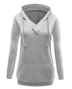 a410bac895e Women Casual Long Sleeve V Neck Sweathirt Hoodies With Kangaroo Pocket at  Amazon Women s Clothing store
