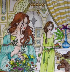 D'être and Morrigan from A Court of Thorns and roses coloring book. Prismacolors.#acotarcoloringbook #acotar #colouringbook #adultcoloring #feyre #sarahjmaas