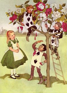 Alice In Wonderland - Alice and the Painting Cards - By Lewis Carroll - Marjorie Torrey Illustration - 1955 Vintage Book Page - 9 x 7 Lewis Carroll, Alice In Wonderland Paintings, Alice In Wonderland Illustrations, Painting The Roses Red, Alice Madness, Adventures In Wonderland, Wonderland Party, Wonderland Alice, Through The Looking Glass