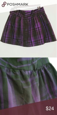 Purple Puffy Plaid Skirt Rarely used, purple and black plaid skirt. Short and poofy, can easily be casual or dressy! Forever 21 Skirts Circle & Skater