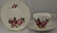Regency pink roses bone china trio made in England