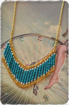 gold and turquoise necklace statement FOR SALE! 4 EURO