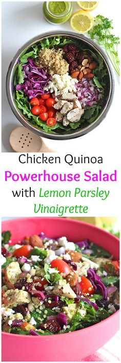 Chicken Quinoa Powerhouse Salad with Lemon Parsley Vinaigrette