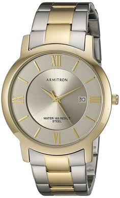 Armitron Men's 20/4986GYTT Date Function Dial Two-Tone Bracelet Watch >>> Learn more by visiting the image link.