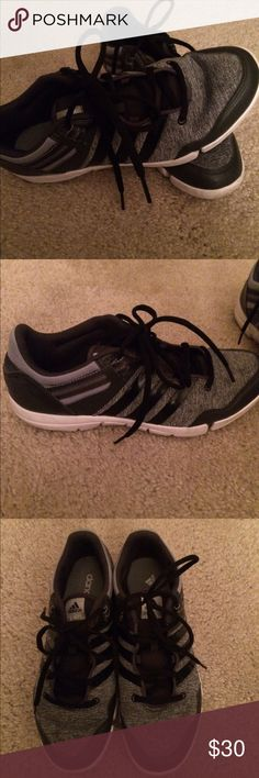 Adidas women sneaker size 8 Barely worn. Super cute adidas sneaker. Gray/black/ and small amount of light blue around heel. Please send offers! Adidas Shoes Sneakers