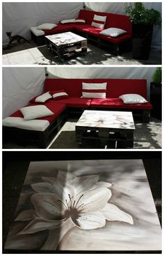 Garden Pallets Lounge / Canapé De Jardin #Garden, #PalletSofa, #PalletTable, #RecycledPallet