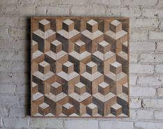 Art mural bois de récupération | Décor en bois | Bois recyclé | Art en bois | Rustique géométrique | Décor en bois | Fait à la main | Tesselation | Cube | Naturel