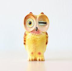 Retro Owl Bank with Winking Eye by bellalulu on Etsy....Rach U neeeeed this!!!!!