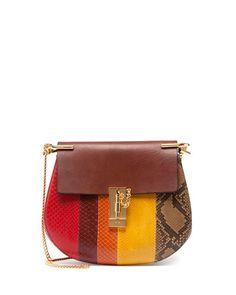 V2H6B Chloe Drew Small Python Shoulder Bag, Multi