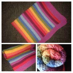 Rainbow stripe crochet blanket. 70x60cm. A similar make would be £20. Www.facebook.com/woollycreationshudds for more details