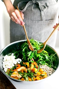 Winter Chopped Salad Recipe with arugula, butternut squash, green beans, pears, and feta