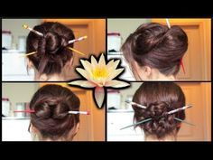 Four simple chopstick hairstyles: 1) simple bun 2) french twist 3) chinese bun 4) chinese braided bun