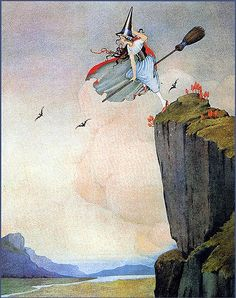 Fabulous Young Witch Flying Standing Up in the Woods -- Ida Outwaithe