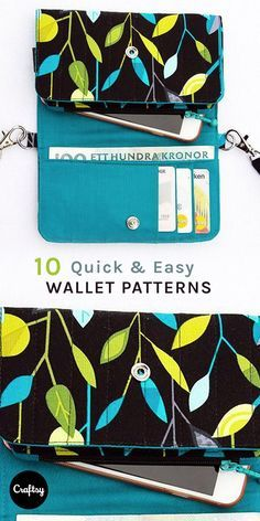 Wallet pattern for sewing this weekend - Diy Wallet Easy Sewing Projects, Sewing Projects For Beginners, Sewing Hacks, Sewing Tutorials, Bag Tutorials, Bag Patterns To Sew, Sewing Patterns Free, Free Sewing, Easy Patterns