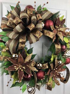 Christmas Wreath Christmas Door Decor Christmas Poinsettia