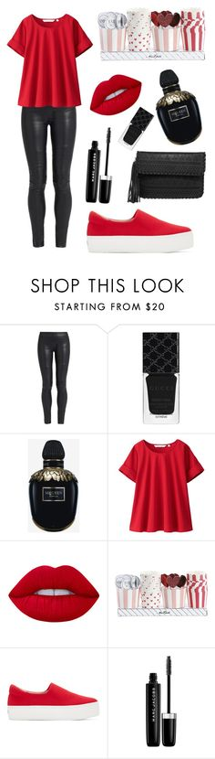 """""""Untitled #76"""" by dlhandlair ❤ liked on Polyvore featuring The Row, Gucci, Alexander McQueen, Uniqlo, Lime Crime, Opening Ceremony, Marc Jacobs and LULUS"""