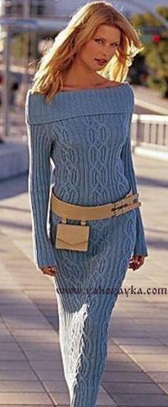 Платье с кельтскими узорами спицами схемы. Длинное платье спицами рельефными узорами своими руками