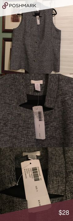 NWT Metallic Black/White Lurex Tweed Vest In EUC, never used. Too big for me. Metallic accents and gorgeous buttons make this a very versatile vest! Chico's Other