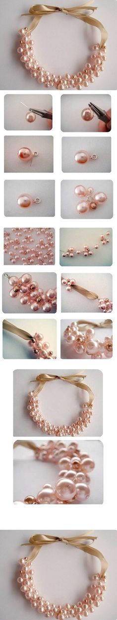 DIY Elegant Pearl Cluster Necklace | iCreativeIdeas.com