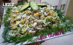 Şahane Tavuk Salatası (Gün Salatası) Fruit Salad, Cobb Salad, Bean Salad, Chicken Salad, Green Beans, Potato Salad, Brunch, Yummy Food, Pasta