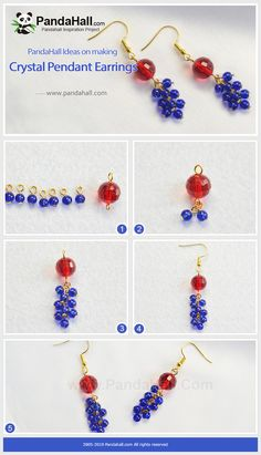 Crystal Pendant Earrings The crystal earrings have a special design on its beads pendant. Blue beads make up the beautiful earring loop. Beaded Earrings, Earrings Handmade, Pendant Earrings, Crystal Earrings, Crystal Beads, Bead Jewellery, Jewelery, Diy Jewelry Inspiration, Beaded Jewelry Patterns