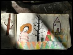 Carolina Bernal: sketchbook. Love how she integrates stamps into her drawings.