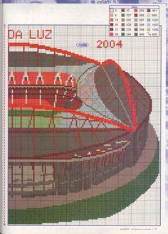 Estadio da Luz partie 2 Cross Stitching, Portugal, Tennis, Places, People, Stadium Of Light, Cross Stitch Bird, Football Squads, Challenges