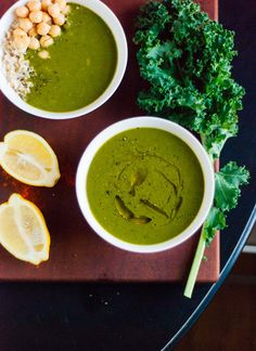 Healthy soup made with kale, spinach, caramelized onions, lemon and cayenne pepper. This delicious recipe is both vegan and gluten free.