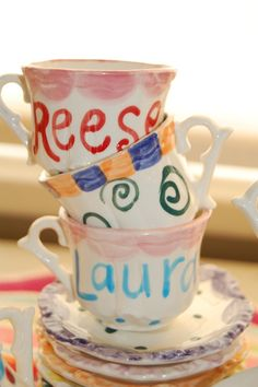 Let kids decorate and keep as an activity and favor Mad hatter tea party for the lil ones. Super adorable