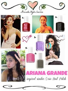 Ariana Grande Inspired Similar Essie Nail Polish!  1. JAG U ARE  2. Unavailable (x)  3. PLAY DATE  4. POWDER CLUTCH  5. EXPOSURE  CREDIT TO arianagrande-buteragifs!  By Katelyn  <3