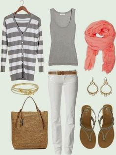 white pants, gray swing top, gray/white sweater, coral scarf. nude flats or Tom's wedges