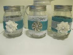 3 Turquoise Blue Burlap, lace, and Bling Mason jars, wedding candles, vases, wedding centerpieces, Shabby Chic