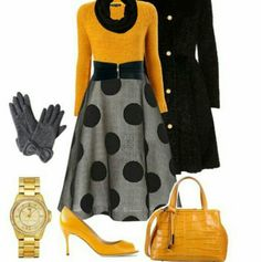 Love the skirt, style and pattern. Shoes are great. The yellow is a bit bright, but I like the color contrast against the grey/black. Always love the trench coats!