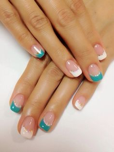 White | Teal | & Gold nails