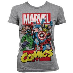 Marvel Comics Womens T Shirt All The Greats (€21) ❤ liked on Polyvore featuring tops, t-shirts, marvel comics t shirts and marvel comics