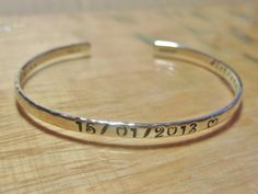 Sterling Silver Personalized Cuff Bracelet Handcrafted by tsojewelry, $62.00