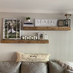 Farmhouse living room wall decor behind couch 28 ideas for 2019 Floating Shelves Diy, Rustic Shelves, Farmhouse Shelving, Farmhouse Decor, Farmhouse Style, Floating Living Room Shelves, Shelves In Dining Room, Decorative Shelves, Floating Cabinets