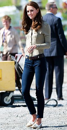 July 5, 2011 To board a float plane at the Old Town Float Base in Yellowknife, Duchess Catherine chose skinny J.Brand jeans, Sebago shoes, and a Burberry blouse.