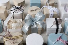 collection ribbons, cords and small cotton boxes in 'Silent Space' theme. Leaf Structure, Cool Color Palette, Cotton Box, Luxury Chocolate, Wood Basket, Bottle Bag, Romantic Lace, Space Theme, Wired Ribbon