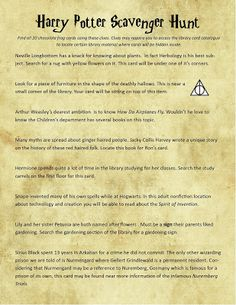 Teen Harry Potter Scavenger Hunt in the Library - The Learning Curve