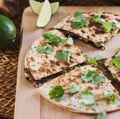 Black Bean & Avocado Quesadillas with Grilled Shiitake | Healthy Black Bean Quesadillas