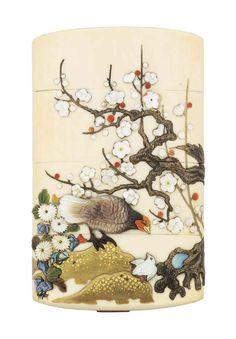 A three case Shibayama ivory Inro.j Artist Masamune Saku. Japanese Culture, Japanese Art, Art Japonais, Objet D'art, Maneki Neko, Ivoire, Katana, Oeuvre D'art, Asian Art