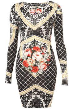 Baroque Print Tapestry Bodycon Dress