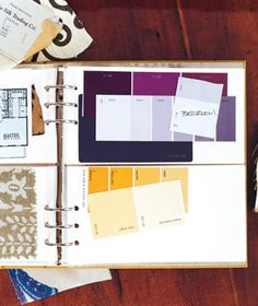 Photo Album as Renovation Helper Stash fabric swatches and paint chips in the album so you can make sure that lamp matches perfectly before you get it home.