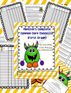Monsters Common Core Checklist Complete for First Grade product from Kadeen-Whitby on TeachersNotebook.com