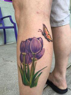 Tulip Flower Tattoo by Diane Lange at Moonlight tattoo Seaville NJ Moonlight Tattoo, Tulips Flowers, Leaf Tattoos