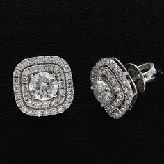 18daee162 3.14 ct Round Cut Diamond Cushion Double Halo Stud Earrings 14k White Gold  Over #Vivre