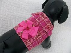 Plaid  Dog Harness Custom Made