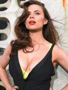 Gorgeous Hayley Atwell voluptuous portrait in a low cut dress